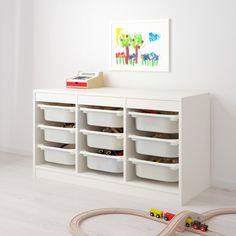 Childrens Storage Furniture, Playroom Furniture, Playroom Decor, Playroom Design, Bedroom Furniture, Furniture Design, Trofast Regal, Ikea Trofast Storage, Trofast Hack