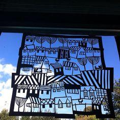 Papercut hanging in my studio on a beautiful blue sky day in Wales by Caroline Rees Www.blastedglass.co.uk