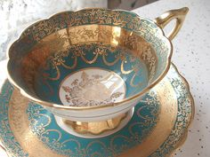 Antique+Royal+Stafford+gold+filigree+tea+cup+and+by+ShoponSherman