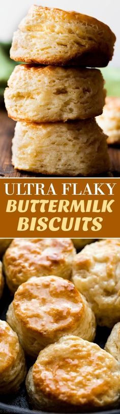 You only need 6 ingredients and about 30 minutes to whip up these ultra buttery golden brown mega flaky buttermilk biscuits! Recipe on http://sallysbakingaddiction.com