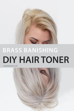 Brass Banishing DIY Hair Toner for Blondes - Wonder Forest Banish Brassy Hair Safely With This DIY Toner<br> Being blonde isn't always easy. Brassy Blonde, Brassy Hair, Blonde Hair At Home, Platinum Blonde Hair, Diy Hair At Home, Yellow Blonde Hair, Toner For Yellow Hair, Tone Yellow Hair, Lighten Hair At Home