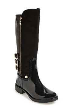 Women&39s Posh Wellies &39Quizz&39 Quilted Tall Rain Boot 1 1/4&quot heel