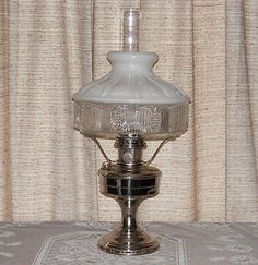 1928 1935 Aladdin Silver Model 12 Oil Lamp w Shade Lox on Chimney Hurricane Lamps, Antique Lamps, Oil Lamps, Aladdin, Light Up, Barware, Shades, Decorating, Antiques