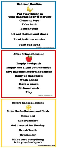 Back to school charts: Bedtime routine, After school routine, Morning routine. Having a routine makes children feel stability, where children who have no routine have more behaviors and feel insecure. After School Routine, School Routines, Morning Routines, Daily Routine Kids, School Schedule, Bedtime Routine Chart, Morning Routine Chart, Daily Schedule Kids, Working Mom Schedule