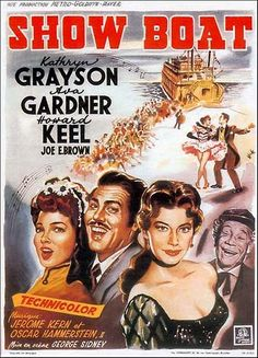 Show Boat stars Kathryn Grayson, Ava Gardner and Howard Keel. Based on musical by Jerome Kern and Oscar Hammerstein. Old Movies, Vintage Movies, Great Movies, Film Musical, Film Movie, Movie Props, Old Movie Posters, Classic Movie Posters, Vintage Posters