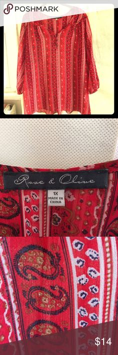 Rose & Olive Boho Paisley Blouse Rose & Olive casual blouse.  Flowly Boho style. Great for spring! rose & olive Tops Blouses