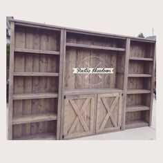 Three piece full media wall suite, hand planked wood back. Solid wood locally sourced, finished by hand.