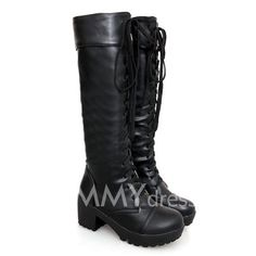 $21.43 British Style Women's Knee-High Boots With Solid Color and Cross Straps Design
