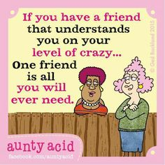If you have a friend that understands your level of crazy... one friend is all you will ever need Old Lady Humor, Auntie Quotes, Aunty Acid, Super Funny, Adult Humor, My Friend, Bestest Friend, Funny Quotes, Crazy Friends
