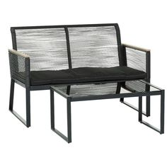 2-seters sofa + bord Monaco Svart - Loungemøbler - Rusta.com Outdoor Chairs, Outdoor Furniture, Outdoor Decor, Monaco, Home Decor, Homemade Home Decor, Garden Chairs, Decoration Home, Lawn Chairs
