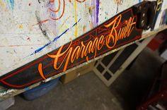 "Hand painted Garage Art ""Garage built"" hand saw"