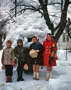 """Urban Eskimos: 1961 """"Snow igloo, 1961."""" Somewhere in Baltimore near Kermy and Janet's house. Note the variety of lunch-carriers. 35mm Kodachrome."""