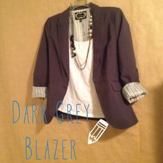Dark grey blazer Beautiful dark grey blazer perfect for work or dress it up for a night out! Super cute with a long necklace :) WORN ONCE! As good as new! ❌TRADES❌PAYPAL❌ BUNDLESOFFERS Jackets & Coats Blazers