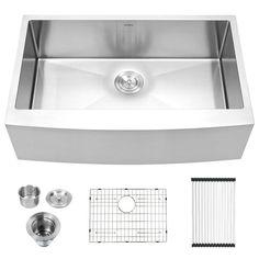 Stainless Steel Farmhouse Sink, Farmhouse Sink Kitchen, Stainless Steel Kitchen, Kitchen Sinks, Drop In Farmhouse Sink, Kitchen Remodel, Kitchen Decor, Farm Sink, Kitchen Islands