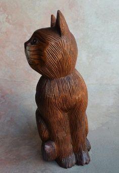 Vintage Wood Carved cat figurine 10'' 1/2 | eBay