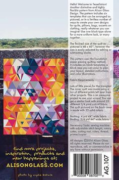 """All patterns 20% off by Allison Glass Details: Scrap and fat-quarter friendly. Pattern for a 48"""" x 60"""" quilt as shown (can adjust by adding or subtracting blo"""