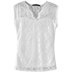 Choies White V-neck Lace Vest (£13) ❤ liked on Polyvore featuring outerwear, vests, white, white lace vest, vest waistcoat, white vest, white waistcoat and v neck vest