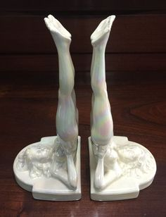 Rare Wembley Ware Naked Lady Bookends Nude 1950's Australian Pottery
