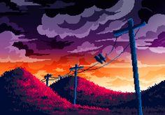 Artist: Isabel Armentero Pixel art is made using unified sized blocks on a grid. Pixel Art Background, Background Drawing, Retro Background, Landscape Background, 8 Bits, Pix Art, Art Images, 8 Bit Art, Pixel Art Games