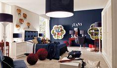 Teen Boy Bedroom Design, Pictures, Remodel, Decor and Ideas - page navy accent wall Bedroom Walls, Accent Wall Bedroom, Girls Bedroom, Bedroom Decor, Bedroom Ideas, Blue Bedroom, Childrens Bedroom, Funky Bedroom, Bedroom Interiors