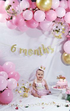 Happy Half Birthday, Half Birthday Cakes, Baby Girl Birthday Theme, 6 Month Baby Picture Ideas Boy, Baby Girl Pictures, Monthly Baby Photos, Baby Girl Cakes, Baby Girl Photography, Baby Month By Month