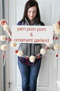 Yarn Pom-Pom & Ornament Garland from MomAdvice.com. Decorate your home with this DIY idea in less than an hour! Items available at Walmart.