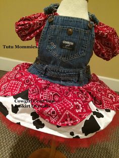 Hey, I found this really awesome Etsy listing at https://www.etsy.com/listing/187490119/cowgirl-red-bandana-jean-overall-skirt