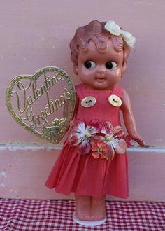 Vintage  Celluloid Doll - Valentine Love