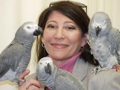 Dr. Irene Pepperberg with Alex, Griffin and Arthur AKA Wart.