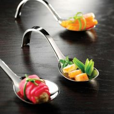 metalized appetizer curly spoon cocktail napkins tasting menu tableware amuse bouche ideas
