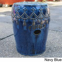 International Caravan Tasseled Drum Ceramic Garden Stool