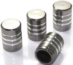 """Amazon.com : (4 Count) Cool and Custom """"Smooth Stripes with Easy Grip Shape"""" Tire Wheel Rim Air Valve Stem Dust Cap Seal Made of Genuine Anodized Aluminum Billet Metal {Stealth Subaru Gray and Silver Colors - Hard Metal Internal Threads for Easy Application - Rust Proof - Fits For Most Cars, Trucks, SUV, RV, ATV, UTV, Motorcycle, Bicycles} : Sports & Outdoors"""