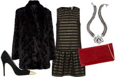Jean-Michel Cazabat Metal Toe Pump, $275, available at Intermix; French Connection Narnia Faux Fur Coat, $249, available at French Connection; Topshop Gold Stripe Dress, $120, available at Topshop; DANNIJO Talford Necklace, $420, available at Dannijo; Aldo Gerke Clutch, $24.49, available at Aldo.