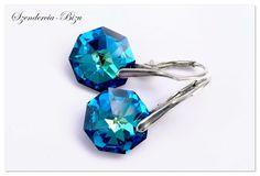 Silver earrings Swarovski Octagon Octagon Bermuda Blue