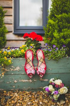 Bow Peep Toe Shoes Heels Bride Bridal Red Rustic Tipi Farm Wedding http://aniaames.co.uk/