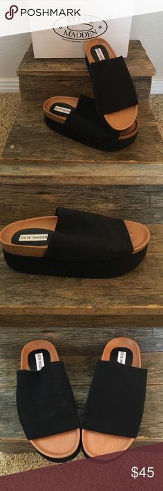 Steve Madden-Screech Black Throwing it back...In these old school sandals! Make your every day outfit a statement in these comfort platform slip on's! Steve Madden Shoes Sandals