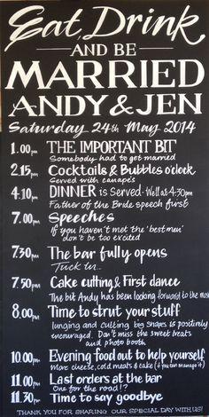 Wedding Program - Order of service chalkboard Wedding Schedule, Wedding Planning Guide, Wedding Tips, Wedding Planner, Destination Wedding, Wedding Stuff, Wedding Agenda, Wedding Destinations, Wedding Fun