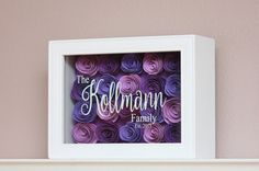 Personalized Hand Rolled 3D Flower Paper Roses Ombre Shadow Box Wedding House Warming