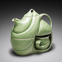 Tea for Two (porcelain, green glaze; inlaid porcelain striations) five-piece set: teapot (32oz), lid, two cups (6oz), S-curved base.