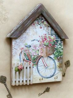 Lilian Martinez's media content and analytics Decoupage Wood, Decoupage Vintage, Wood Crafts, Diy And Crafts, Paper Crafts, Small Wood Projects, Craft Projects, Wooden Art, Mural Art