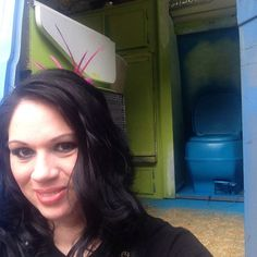 """Taking #selfies with my newly painted blue #toilet and future cat play toys in my hair. Off to work at #cirquedusoleil #cirquador #cirquadors #vangrrrl #vanlife #livinginavan #vandwelling #vandweller"" Photo taken by @van_grrrl on Instagram, pinned via the InstaPin iOS App! http://www.instapinapp.com (03/05/2015)"