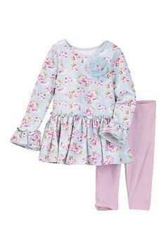 Allover Floral Print Set (Toddler Girls)