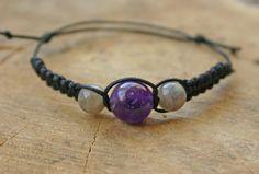 Amethyst and Labradorite Bracelet Handmade Affordable by TriouZ, £5.79