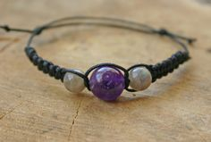 Amethyst and Labradorite Bracelet Handmade Affordable by TriouZ, £5.79