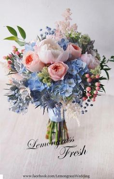 Hottest 7 Spring Wedding Flowers to Rock Your Big Day---Pink and white peonies and Blue Hydrangea, thistle Wedding Bouquet, spring weddings, summer weddings haare hochzeit wreath wedding flowers flowers summer flowers white wedding Blue Wedding Flower Arrangements, Purple Wedding Bouquets, Blue Bouquet, Spring Wedding Flowers, Bridal Flowers, Flower Bouquet Wedding, Spring Weddings, Bridal Bouquets, Blue Hydrangea Bouquet