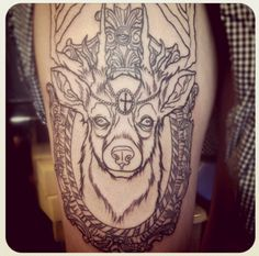 Really interested in this frame business .    deer & ornamental frame #thigh #tattoos