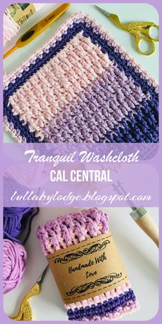 Lullaby Lodge: Tranquil Washcloth - CAL Central washcloth crochet along. Crochet Kitchen, Crochet Home, Crochet Yarn, Free Crochet, Crochet Dishcloths, Washcloth Crochet, Knitting Patterns, Crochet Patterns, Boyfriend Crafts