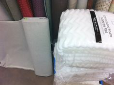 """For headboard use: foam mattress toppers (the tutorials said it was much cheaper than 2"""" or 3"""" foam, and worked just as well). I wanted it extra thick, so I grabbed three for $10 each,"""
