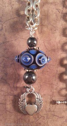 Blue Jean Baby  Lampwork Glass Bead Necklace by ASplashOGlass