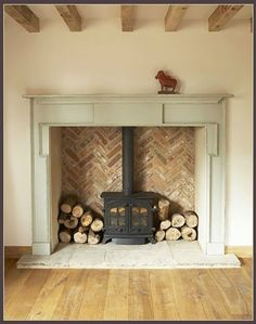 40 Super Ideas For Wood Burning Stove Fireplace Fire Surround Log Burner Fireplace Surrounds, Fireplace Design, Fireplace Brick, Fireplace Ideas, Herringbone Fireplace, Inglenook Fireplace, Wood Stove Fireplace Insert, Brick Hearth, Wood Stove Wall